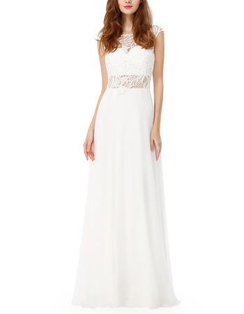 Seductive Illusion Waist Chiffon Evening/ Prom Dresses with Floral Applique Bodice