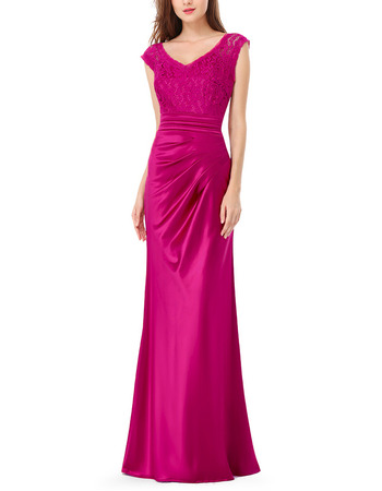 Custom Sheath V-Neck Floor Length Satin Lace Evening/ Prom Dresses