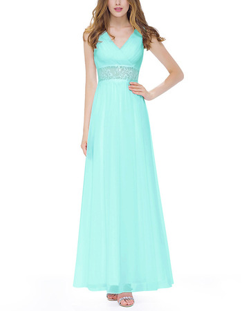 Custom V-Neck Sleeveless Floor Length Chiffon Evening/ Prom Dresses