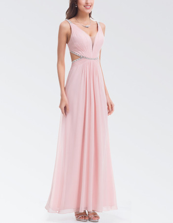 Affordable Floor Length Chiffon Backless Evening Dresses with Straps
