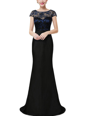 Sexy Illusion Neckline Taffeta Skirt Evening Dresses with Lace Bodice and Cap Sleeves