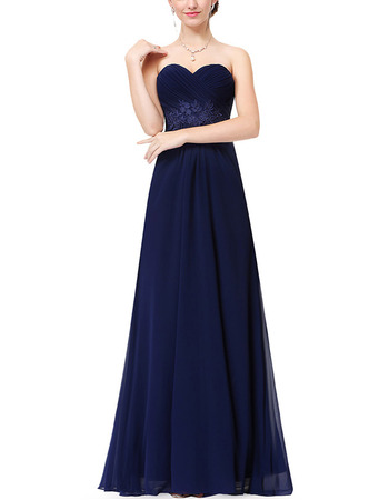 Spring Sweetheart Floor Length Chiffon Evening/ Prom Dresses