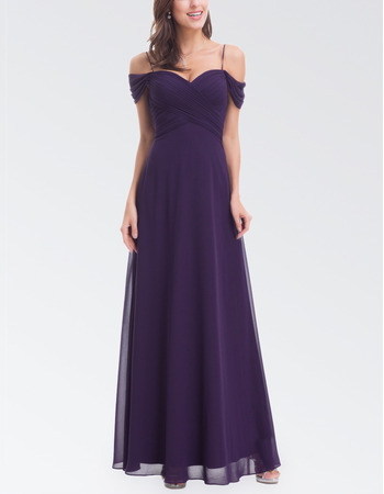 Custom Off-the-shoulder Chiffon Evening Dresses with Spaghetti Straps
