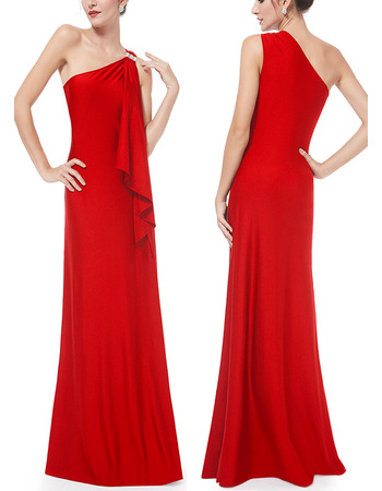 New Style One Shoulder Floor Length Satin Evening Dresses