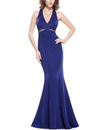 Affordable Mermaid V-Neck Floor Length Satin Evening/ Prom Dresses