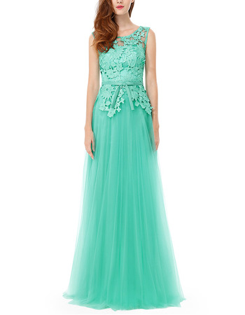 Discount Sleeveless Floor Length Tulle & Lace Evening Dresses
