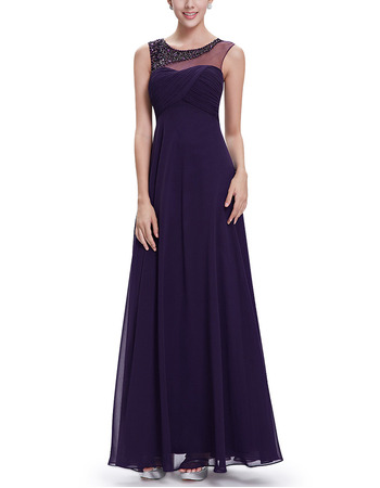 New Style Sleeveless Floor Length Chiffon Evening Dresses