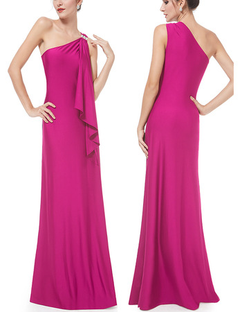 Sexy One Shoulder Sleeveless Floor Length Satin Evening Dresses
