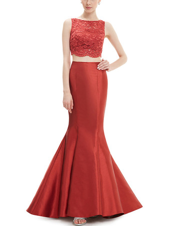 New Mermaid Sleeveless Satin Lace Two-Piece Evening Dresses