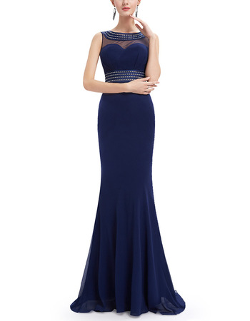 Custom Sheath Sleeveless Floor Length Chiffon Evening Dresses