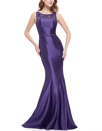 Sexy Mermaid Sleeveless Taffeta Evening Dresses with Lace Top and Beaded Detail