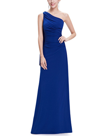 Elegant One Shoulder Sleeveless Floor Length Chiffon Evening Dresses