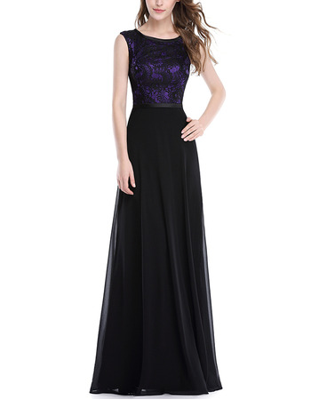 Inexpensive Sleeveless Floor Length Chiffon Evening Dresses with Lace Bodice