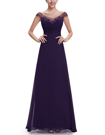 New Style A-Line V-Neck Floor Length Chiffon Evening Dresses