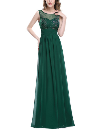 Custom Floor Length Pleated Chiffon Evening/ Prom Dresses with Beaded Detail