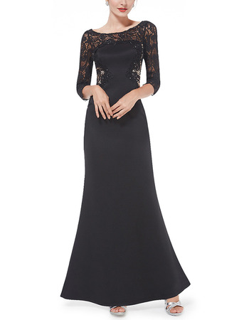 Couture Satin Lace Black Mother Evening Dresses with 3/4 Long Sleeves