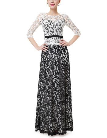 Affordable Color Block Two-Piece Lace Mother Evening Dresses with 3/4 Long Sleeves