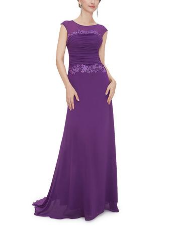 Feminine  Sleeveless Long Length Chiffon Evening/ Prom Dresses with Ruched Bodice
