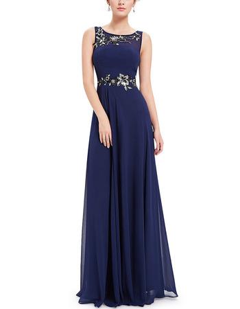 Elegance Sleeveless Floor Length Navy Blue Chiffon Beadings Applique Evening Dresses