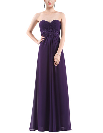 Custom Sweetheart Floor Length Chiffon Evening/ Prom/ Bridesmaid Dress