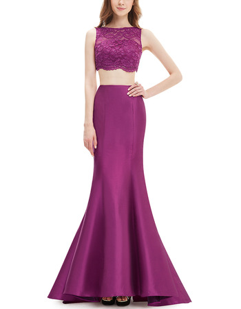 Stylish Trumpet Lace & Satin Two-Piece Prom Evening Dresses