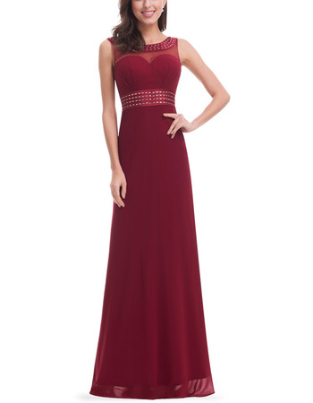 Feminine Illusion Sweetheart Floor Length Chiffon Prom/ Formal Evening Dresses with Beading Detail