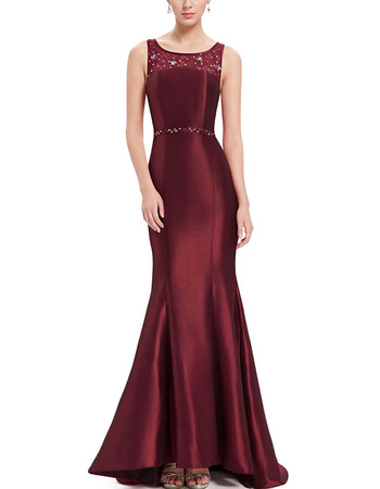 Discount Classy Trumpet Sleeveless Floor Length Satin Evening/ Prom Dresses