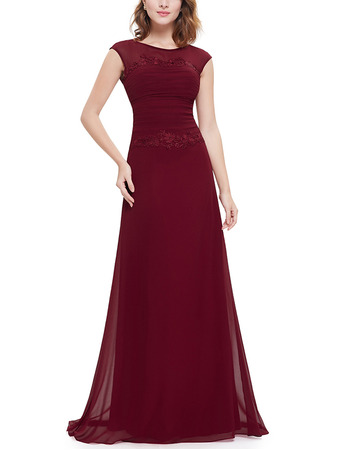 Classy A-Line Chiffon Formal Evening Dresses with Slight Cap Sleeves and Keyhole Back