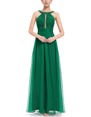 Inexpensive Long Green Chiffon Prom Evening Dresses with Straps