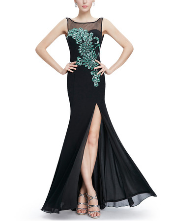 Affordable Amazing Sheath Floor Length Chiffon Evening Dresses with Slit