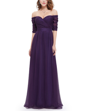 Simple Elegant Sweetheart Long Purple Chiffon Ruched Evening Party Dress with Half Sleeves