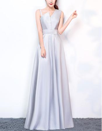 Delicate Fashionable Asymmetric Neckline Long Length Satin Evening Party Dresses