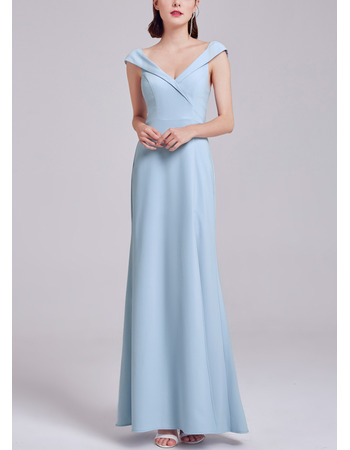 2018 New Style V-Neck Full Length Satin Evening Dress with Side Slit and Slight Cap Sleeves