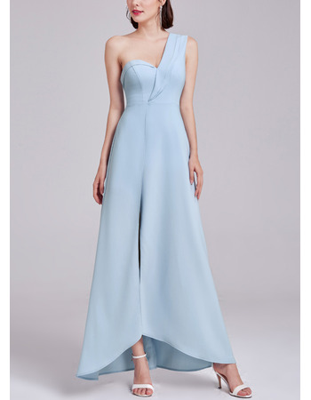 Exceptional One Shoulder Asymmetrical Hem Satin Evening Dress with Split Front