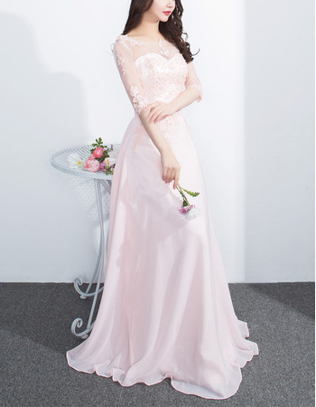 Feminine Illusion Sweetheart Neckline Floor Length Chiffon Tulle Evening Dresses with Half Sleeves