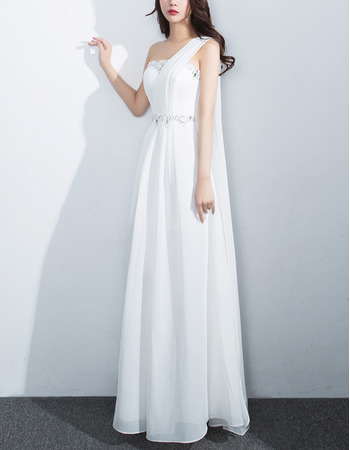 Ultra-feminine Crystal Beading One Shoulder Sleeveless Full Length White Chiffon Evening Dresses