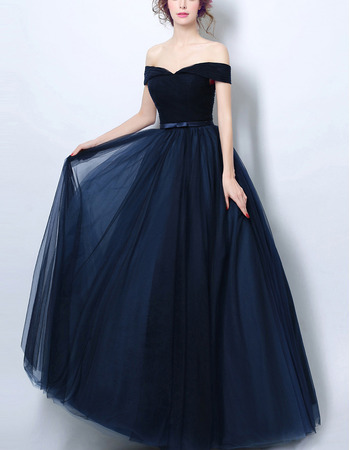 Ultra-feminine Off-the-shoulder Floor Length Ruched Tulle Evening Dresses with Soutache