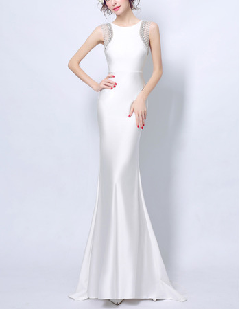 Fashionable Illusion Neckline Sheath Full Length Satin Evening Dresses with Crystal Beading