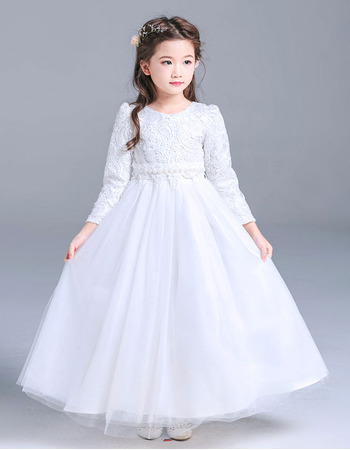 3e6f1a331b0d4 Classic Round Neck Little Girls Full Length Lace Tulle First Communion  Dresses with Long Sleeves - US$ 102.99 - BuyBuyStyle.com
