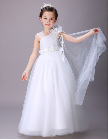 White Lovely Asymmetric Neck Full Length Satin Tulle Flower Girl Dresses with Ruffled Waist