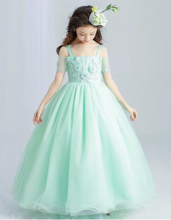 Stunning Wide Straps Floor Length Applique Flower Girl/ Pageant Dresses with Short Split Sleeve