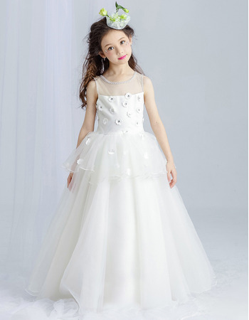 Princess Pretty Beaded Neckline and Armholes Full Length Satin Tulle First Communion Dress with Applique