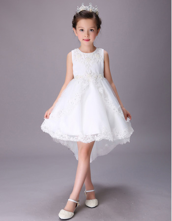 Pretty White A-Line Sleeveless High-Low Short Satin Flower Girl Dresses with Beaded Applique