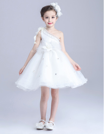 Beautiful A-Line Ruffled One Shoulder Sleeveless Short Satin Organza Flower Girl Dress with Handmade Flowers