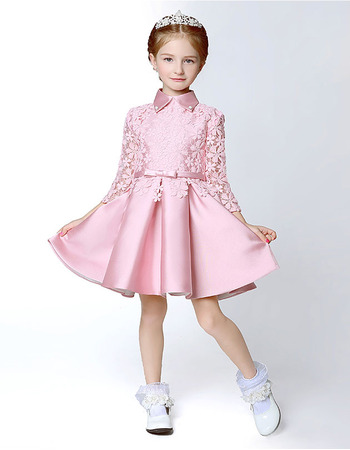Discount Short Satin Lace Flower Girl/ Pageant Dresses with Long Sleeves