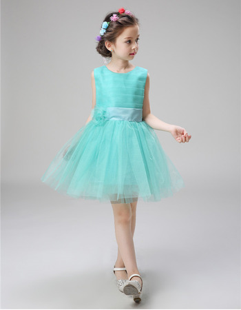 Cheap Sleeveless Ruched Bodice Mini/ Short Satin Tulle Tie-Back Flower Girl Dresses with Bowknot