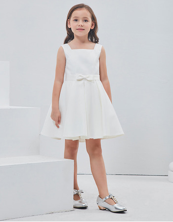 Cute Simple A-Line Square Sleeveless Short Satin Flower Girl Dresses with Bows