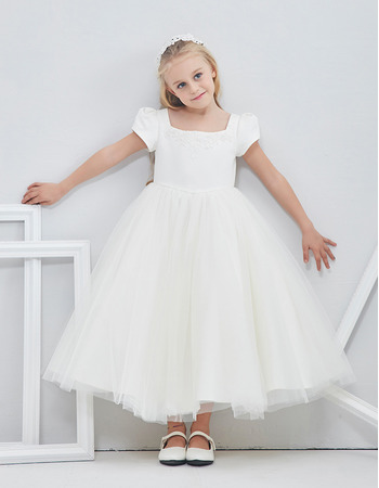 Princess Tulle Satin Tea Length Flower Girl Dresses with Short Bubble Sleeves/ White First Communion Dresses
