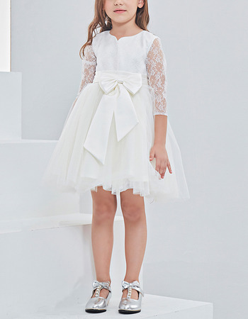 Pretty Satin Tulle Mini/ Short Flower Girl Dresses with 3/4 Long Lace Sleeves and Handmade Flowers