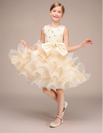 Pretty Beautiful Short Tiered Ruffle Skirt Lace Organza Flower Girl / Little Girl Party Dresses with Crystal Detailing
